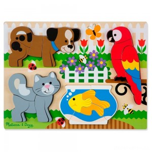 [BLACK FRIDAY] Melissa & Doug Pets Wooden Chunky Jigsaw Puzzle - Dog, Cat, Bird, and Fish (20pc)