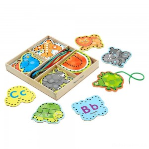 [BLACK FRIDAY] Melissa & Doug Alphabet Wooden Lacing Cards With Double-Sided Panels and Matching Laces