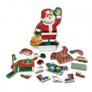 [BLACK FRIDAY] Melissa & Doug Santa Wooden Dress-Up Doll and Stand With Magnetic Accessories (22pc)