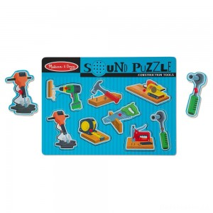 Melissa & Doug Construction Tools Sound Puzzle - Wooden Peg Puzzle (8pc)