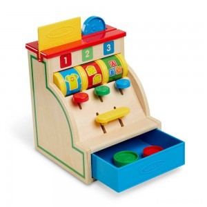 [BLACK FRIDAY] Melissa & Doug Spin and Swipe Wooden Toy Cash Register With 3 Play Coins and Pretend Credit Card