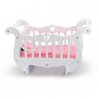 [BLACK FRIDAY] Melissa & Doug White Wooden Doll Crib With Bedding (30 x 18 x 16 inches)