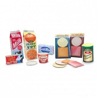 [BLACK FRIDAY] Melissa & Doug Fridge Groceries Play Food Cartons (8pc) - Toy Kitchen Accessories