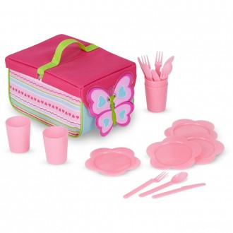 [BLACK FRIDAY] Melissa & Doug Sunny Patch Cutie Pie Butterfly Picnic Set With Basket, Plates, and Utensils