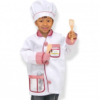 Melissa & Doug Chef Role Play Costume Dress -Up Set With Realistic Accessories, Adult Unisex, Red/Gold/red