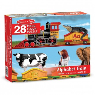 Melissa And Doug Alphabet Train Letters And Animals Jumbo Floor Puzzle 28pc