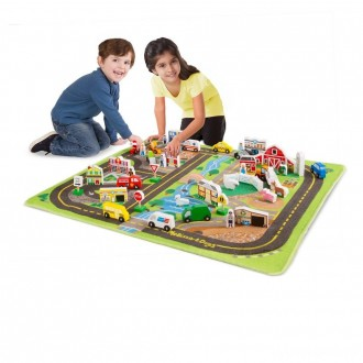 Melissa & Doug Deluxe Activity Road Rug Play Set with 49pc Wooden Vehicles and Play
