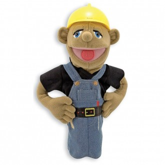 Melissa & Doug Construction Worker Puppet With Detachable Wooden Rod for Animated Gestures