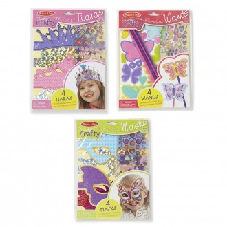 Melissa & Doug Simply Crafty Activity Kits Set: Terrific Tiaras, Marvelous Masks, Whimsical Wands (Makes 4 of Each)