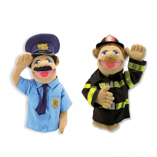 [BLACK FRIDAY] Melissa & Doug Rescue Puppet Set - Police Officer and Firefighter
