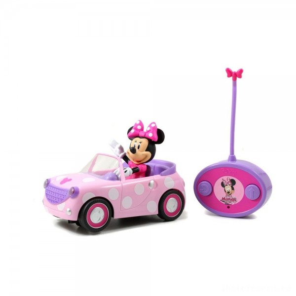 "Jada Toys Disney Junior RC Minnie Bowtique Roadster Remote Control Vehicle 7"" Pink with White Polka Dots [Sale]"