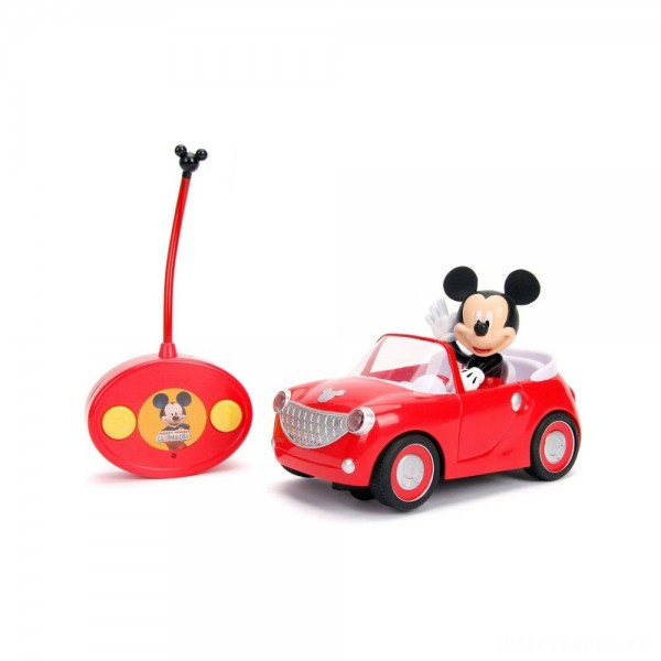 """[BLACK FRIDAY] Jada Toys Disney Junior RC Mickey Mouse Club House Roadster Remote Control Vehicle 7"""" Glossy Red"""