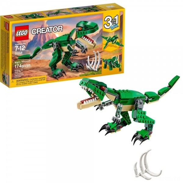 LEGO Creator Mighty Dinosaurs 31058 Build It Yourself Dinosaur Set, Pterodactyl, Triceratops, T Rex Toy [Sale]
