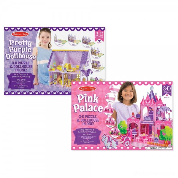 Melissa And Doug Pretty Purple Dollhouse And Pink Palace 3D Puzzle 200pc
