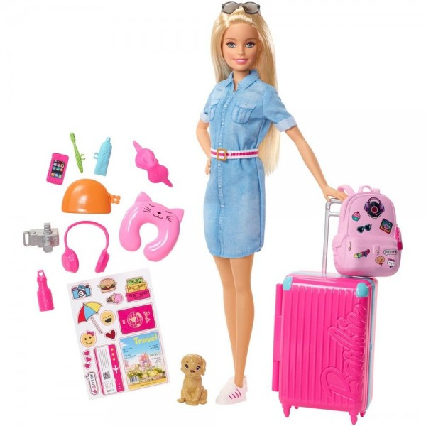 Barbie Travel Doll & Puppy Playset [Sale]
