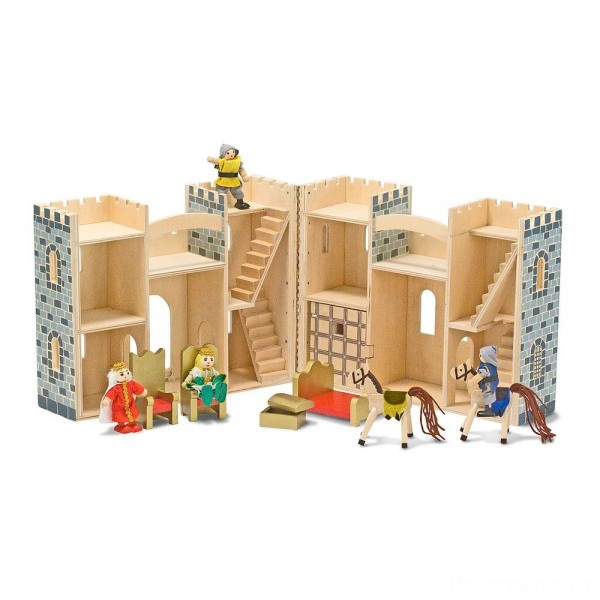 Melissa & Doug Fold and Go Wooden Castle Dollhouse With Wooden Dolls and Horses (12pc)