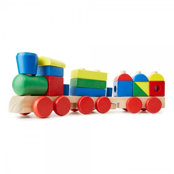 [BLACK FRIDAY] Melissa & Doug Stacking Train - Classic Wooden Toddler Toy (18pc)