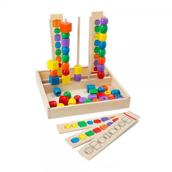 [BLACK FRIDAY] Melissa & Doug Bead Sequencing Set With 46 Wooden Beads and 5 Double-Sided Pattern Boards