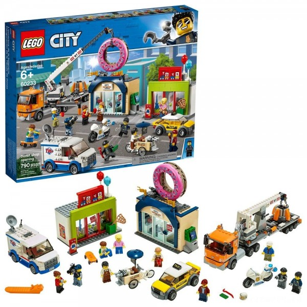 LEGO City Donut Shop Opening 60233 Store Opening Build and Play with Toy Vehicles and City Minifigures [Sale]