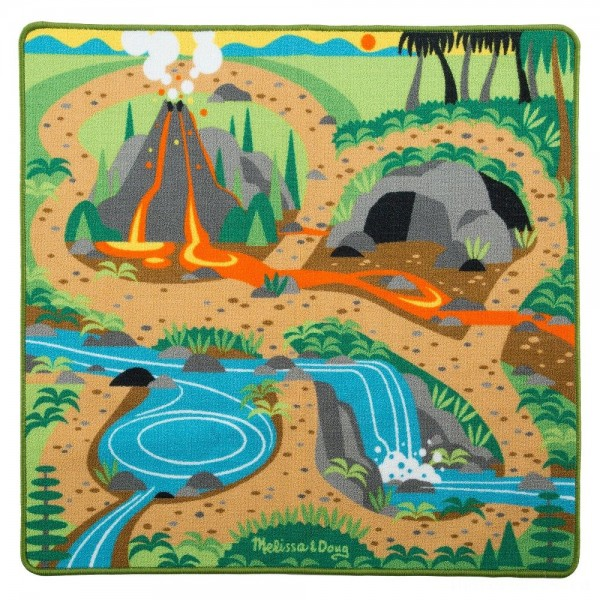 "Melissa & Doug Prehistoric Playground Dinosaur Activity Rug (39 X 36"") - 4 Toy Animals Toy"