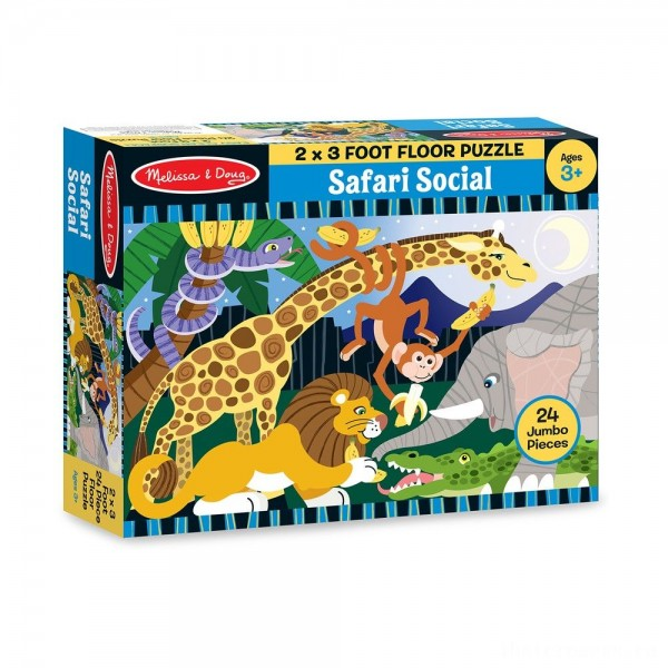 Melissa And Doug Safari Social Jumbo Floor Puzzle 24pc