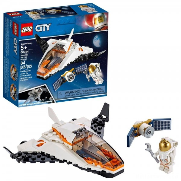 LEGO City Space Satellite Service Mission 60224 Space Shuttle Toy Building Set 84pc [Sale]
