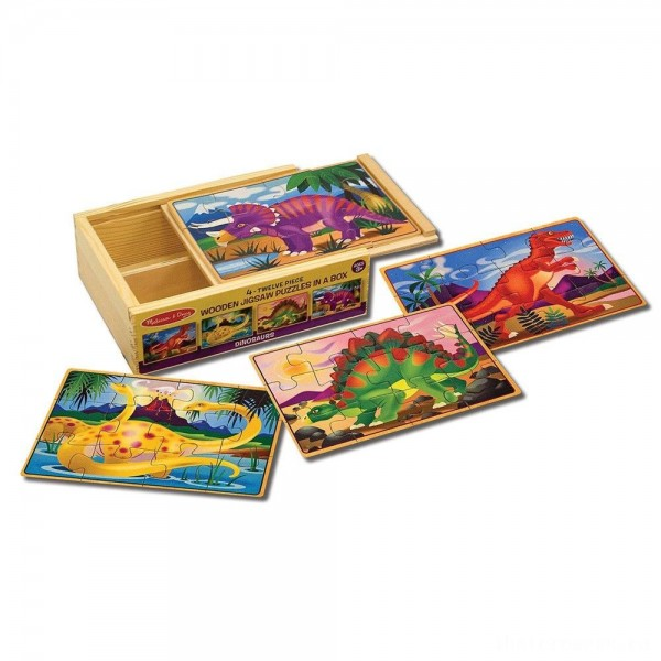 [BLACK FRIDAY] Melissa & Doug Dinosaurs 4-in-1 Wooden Jigsaw Puzzles in a Storage Box (48pc)