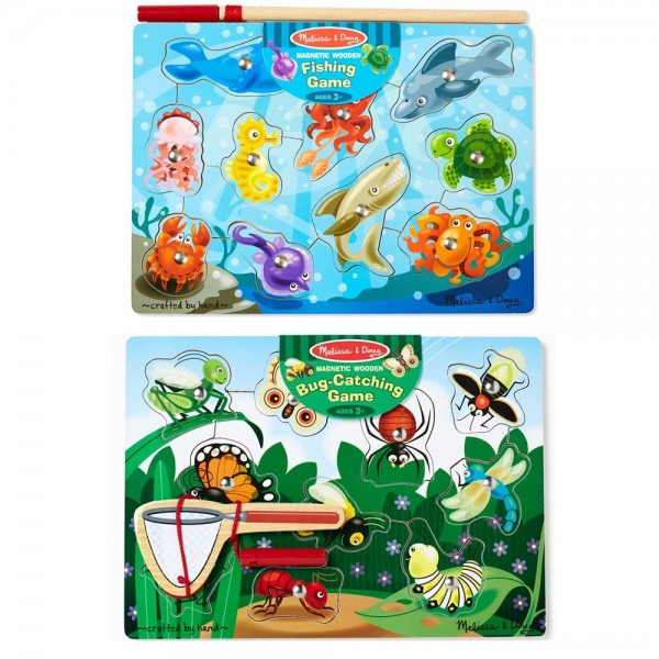 [BLACK FRIDAY] Melissa & Doug Magnetic Wooden Puzzle Game Set: Fishing and Bug Catching