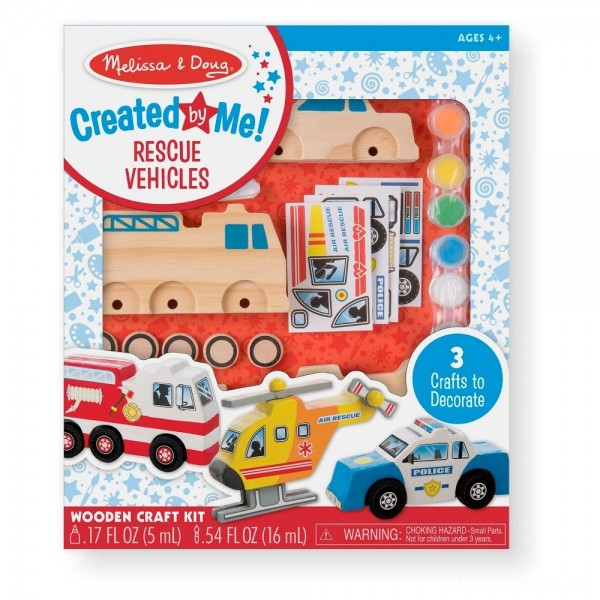 Melissa & Doug Decorate-Your-Own Wooden Rescue Vehicles Craft Kit - Police Car, Fire Truck, Helicopter