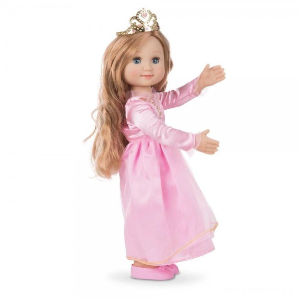 Melissa & Doug Celeste 14-Inch Poseable Princess Doll With Pink Gown and Tiara