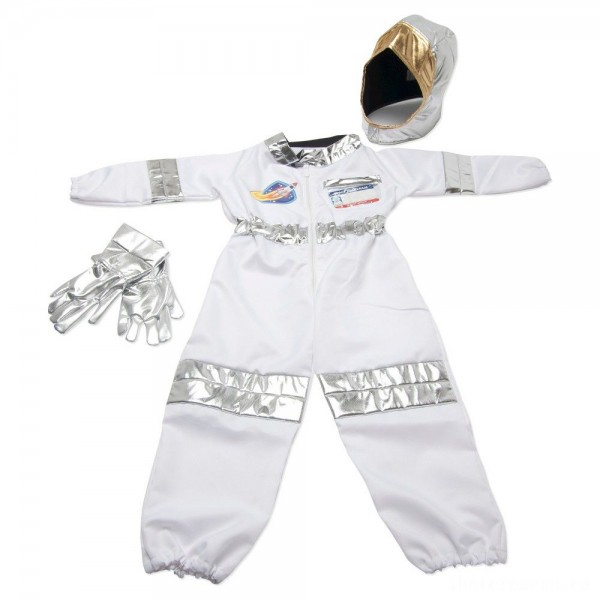 Melissa & Doug Astronaut Role Play Costume Set (5pc) - Jumpsuit, Helmet, Gloves, Name Tag, Adult Unisex, Size: Small, Red/Gold/Silver