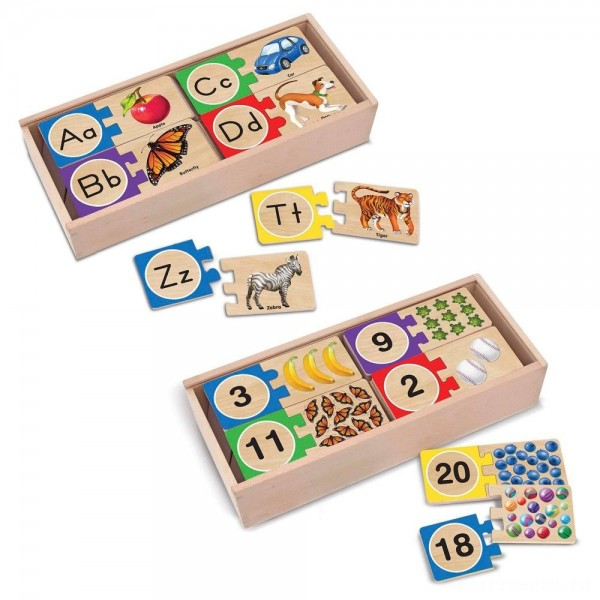 Melissa & Doug Self-Correcting Letter and Number Wooden Puzzles Set With Storage Box 92pc