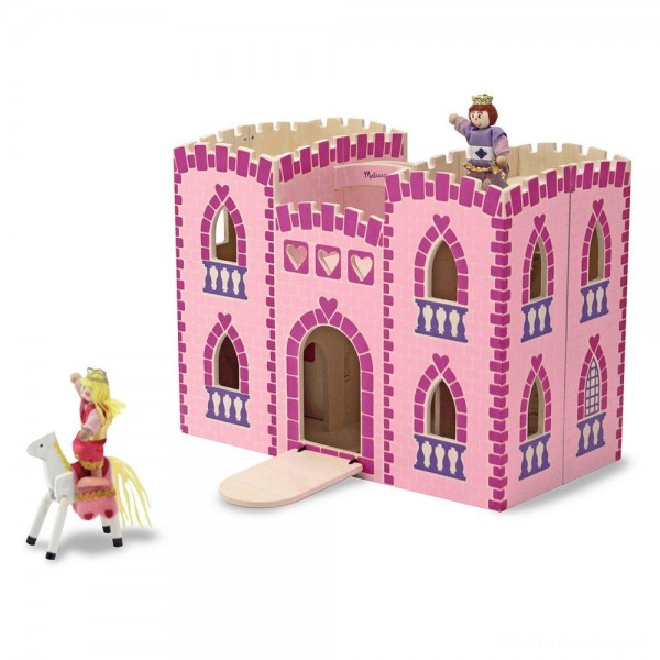 [BLACK FRIDAY] Melissa & Doug Fold and Go Wooden Princess Castle With 2 Royal Play Figures, 2 Horses, and 4pc of Furniture