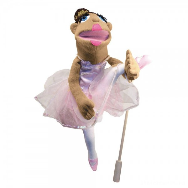 [BLACK FRIDAY] Melissa & Doug Ballerina Puppet - Full-Body With Detachable Wooden Rod for Animated Gestures