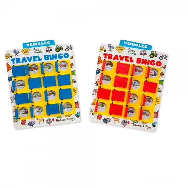 [BLACK FRIDAY] Melissa & Doug Flip to Win Travel Bingo Game - 2 Wooden Game Boards, 4 Double-Sided Cards, Kids Unisex