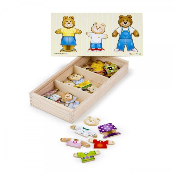 Melissa & Doug Mix 'n Match Wooden Bear Family Dress-Up Puzzle With Storage Case (45pc)