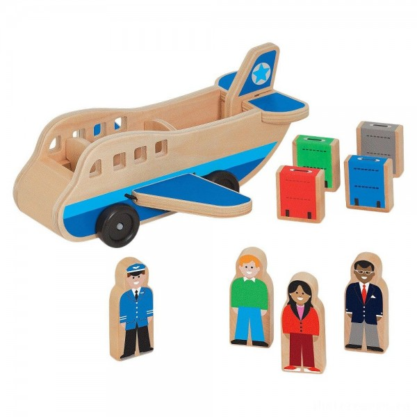 [BLACK FRIDAY] Melissa & Doug Wooden Airplane Play Set With 4 Play Figures and 4 Suitcases