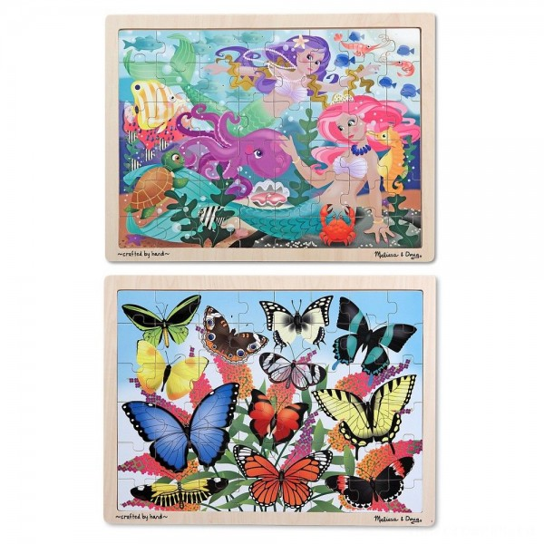 Melissa & Doug Wooden Jigsaw Puzzle Set - Mermaids and Butterflies 96pc
