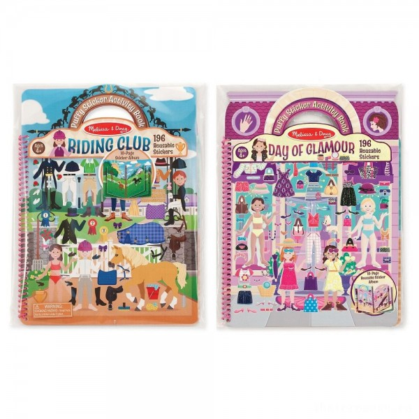 Melissa & Doug Deluxe Puffy Sticker Activity Book Set: Day of Glamour and Riding Club - 392 Reusable Stickers