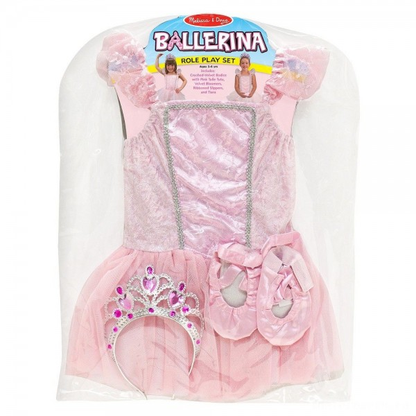 Melissa & Doug Ballerina Role Play Costume Set (4pc) - Includes Ballet Slippers, Tutu, Women's, Size: Small, Pink