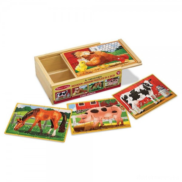 [BLACK FRIDAY] Melissa & Doug Farm 4-in-1 Wooden Jigsaw Puzzles in a Storage Box (48pc total)